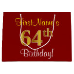 [ Thumbnail: Elegant, Red, Faux Gold 64th Birthday; Custom Name Gift Bag ]