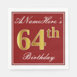 [ Thumbnail: Elegant Red, Faux Gold 64th Birthday + Custom Name Napkin ]