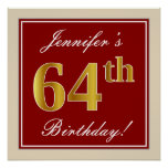 [ Thumbnail: Elegant, Red, Faux Gold 64th Birthday; Custom Name Poster ]