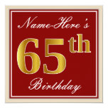 [ Thumbnail: Elegant, Red, Faux Gold 65th Birthday; Custom Name Invitation ]