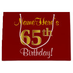 [ Thumbnail: Elegant, Red, Faux Gold 65th Birthday; Custom Name Gift Bag ]