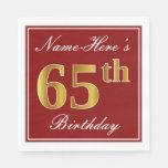 [ Thumbnail: Elegant Red, Faux Gold 65th Birthday + Custom Name Napkin ]