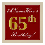 [ Thumbnail: Elegant, Red, Faux Gold 65th Birthday; Custom Name Poster ]
