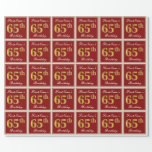 [ Thumbnail: Elegant, Red, Faux Gold 65th Birthday; Custom Name Wrapping Paper ]