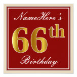 [ Thumbnail: Elegant, Red, Faux Gold 66th Birthday; Custom Name Invitation ]