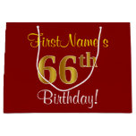 [ Thumbnail: Elegant, Red, Faux Gold 66th Birthday; Custom Name Gift Bag ]