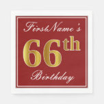 [ Thumbnail: Elegant Red, Faux Gold 66th Birthday + Custom Name Paper Napkin ]