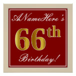 [ Thumbnail: Elegant, Red, Faux Gold 66th Birthday; Custom Name Poster ]