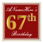 [ Thumbnail: Elegant, Red, Faux Gold 67th Birthday; Custom Name Invitation ]