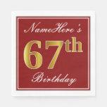 [ Thumbnail: Elegant Red, Faux Gold 67th Birthday + Custom Name Napkin ]
