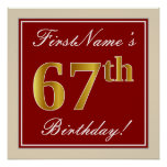 [ Thumbnail: Elegant, Red, Faux Gold 67th Birthday; Custom Name Poster ]