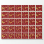 [ Thumbnail: Elegant, Red, Faux Gold 67th Birthday; Custom Name Wrapping Paper ]