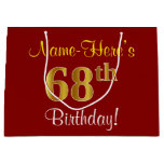 [ Thumbnail: Elegant, Red, Faux Gold 68th Birthday; Custom Name Gift Bag ]