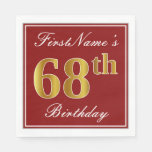 [ Thumbnail: Elegant Red, Faux Gold 68th Birthday + Custom Name Paper Napkin ]