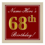 [ Thumbnail: Elegant, Red, Faux Gold 68th Birthday; Custom Name Poster ]