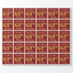 [ Thumbnail: Elegant, Red, Faux Gold 68th Birthday; Custom Name Wrapping Paper ]