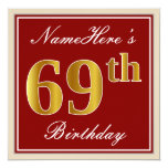[ Thumbnail: Elegant, Red, Faux Gold 69th Birthday; Custom Name Invitation ]