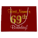 [ Thumbnail: Elegant, Red, Faux Gold 69th Birthday; Custom Name Gift Bag ]