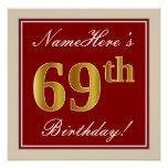 [ Thumbnail: Elegant, Red, Faux Gold 69th Birthday; Custom Name Poster ]