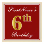 [ Thumbnail: Elegant, Red, Faux Gold 6th Birthday + Custom Name Invitation ]