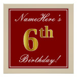 [ Thumbnail: Elegant, Red, Faux Gold 6th Birthday + Custom Name Poster ]