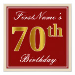 [ Thumbnail: Elegant, Red, Faux Gold 70th Birthday; Custom Name Invitation ]