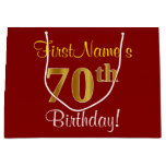 [ Thumbnail: Elegant, Red, Faux Gold 70th Birthday; Custom Name Gift Bag ]