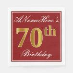[ Thumbnail: Elegant Red, Faux Gold 70th Birthday + Custom Name Paper Napkin ]