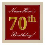 [ Thumbnail: Elegant, Red, Faux Gold 70th Birthday; Custom Name Poster ]