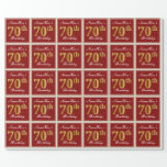 [ Thumbnail: Elegant, Red, Faux Gold 70th Birthday; Custom Name Wrapping Paper ]