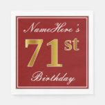 [ Thumbnail: Elegant Red, Faux Gold 71st Birthday + Custom Name Paper Napkin ]
