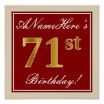 [ Thumbnail: Elegant, Red, Faux Gold 71st Birthday; Custom Name Poster ]
