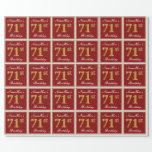 [ Thumbnail: Elegant, Red, Faux Gold 71st Birthday; Custom Name Wrapping Paper ]