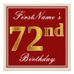 [ Thumbnail: Elegant, Red, Faux Gold 72nd Birthday; Custom Name Invitation ]