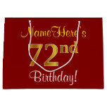 [ Thumbnail: Elegant, Red, Faux Gold 72nd Birthday; Custom Name Gift Bag ]