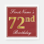 [ Thumbnail: Elegant Red, Faux Gold 72nd Birthday + Custom Name Napkin ]