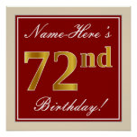 [ Thumbnail: Elegant, Red, Faux Gold 72nd Birthday; Custom Name Poster ]