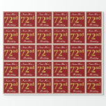 [ Thumbnail: Elegant, Red, Faux Gold 72nd Birthday; Custom Name Wrapping Paper ]