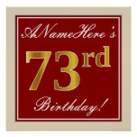 [ Thumbnail: Elegant, Red, Faux Gold 73rd Birthday; Custom Name Poster ]