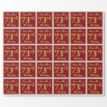 [ Thumbnail: Elegant, Red, Faux Gold 73rd Birthday; Custom Name Wrapping Paper ]