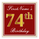 [ Thumbnail: Elegant, Red, Faux Gold 74th Birthday; Custom Name Invitation ]