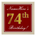 [ Thumbnail: Elegant, Red, Faux Gold 74th Birthday; Custom Name Poster ]