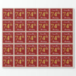 [ Thumbnail: Elegant, Red, Faux Gold 74th Birthday; Custom Name Wrapping Paper ]