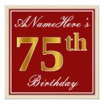 [ Thumbnail: Elegant, Red, Faux Gold 75th Birthday; Custom Name Invitation ]