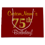 [ Thumbnail: Elegant, Red, Faux Gold 75th Birthday; Custom Name Gift Bag ]