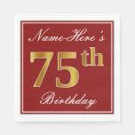 [ Thumbnail: Elegant Red, Faux Gold 75th Birthday + Custom Name Napkin ]