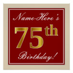 [ Thumbnail: Elegant, Red, Faux Gold 75th Birthday; Custom Name Poster ]