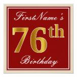 [ Thumbnail: Elegant, Red, Faux Gold 76th Birthday; Custom Name Invitation ]