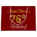 [ Thumbnail: Elegant, Red, Faux Gold 76th Birthday; Custom Name Gift Bag ]