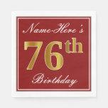 [ Thumbnail: Elegant Red, Faux Gold 76th Birthday + Custom Name Paper Napkin ]